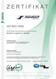Seifert ISO 9001 Zertifikat deutsch - Seifert Logistics