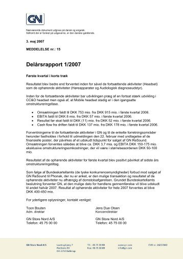 Delårsrapport 1/2007 (PDF) - GN Store Nord