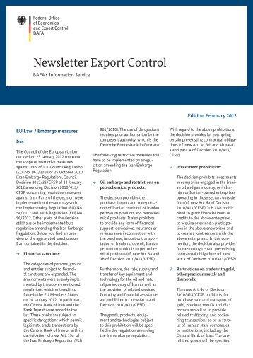Newsletter Export Control – Edition February 2012 ( No. 02 ... - Bafa