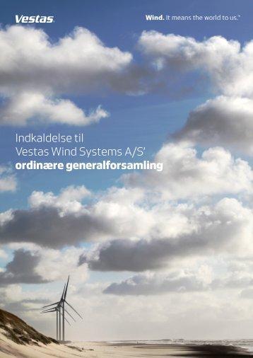 Indkaldelse til Vestas Wind Systems A/S' generalforsamling 2013