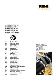 REMS SSM 160 R REMS SSM 160 K REMS SSM 250 K REMS SSM ...