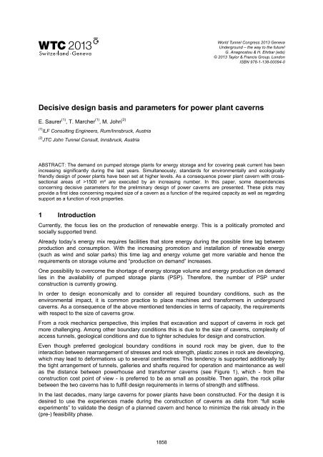 Decisive design basis and parameters for power plant caverns