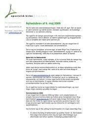 Nyhedsbrev af 6. maj 2009 - Apostolsk Kirke i Danmark