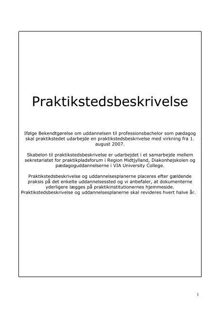 Praktikstedsbeskrivelse - Dagtilbud-Aarhus