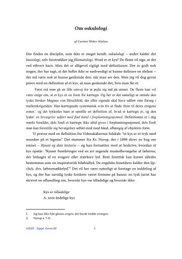 Carsten Weber-Nielsen, Om oskulologi - Aigis