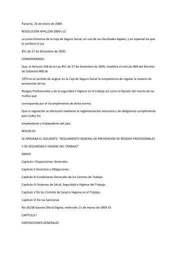 Panamá, 26 de enero de 2009. RESOLUCIÓN Nº41,039-2009-J.D. ...