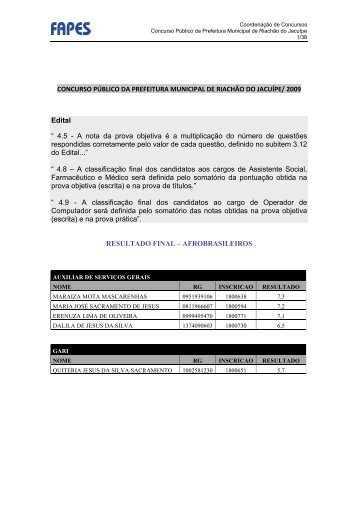 Concurso Público da Prefeitura Municipal de Riachão do - Fapes