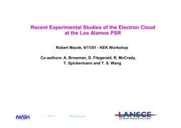 Studies of the Electron Cloud at the LANL PSR - kek