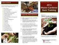 2013 Master Gardener Basic Training - WSU Extension Counties