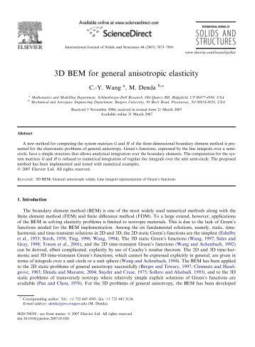 3D BEM for general anisotropic elasticity