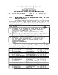 Recruitment of Medical Officers in CAPFS for the Year-2012