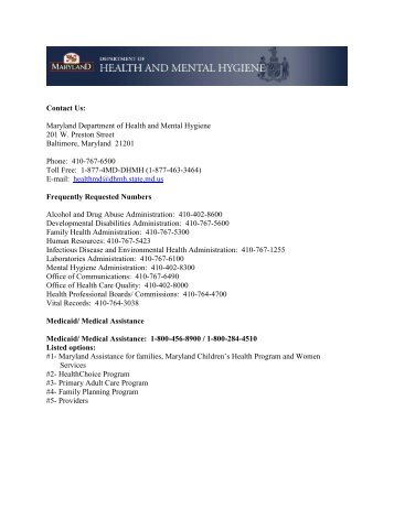 Contact Us: Maryland Department of Health and Mental Hygiene ...