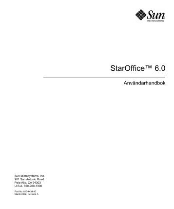 StarOffice 6.0 Software User Guide, Swedish - Oracle Documentation