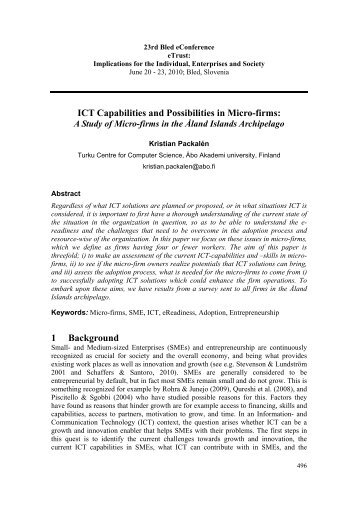ICT Capabilities and Possibilities in Micro-firms: 1 Background