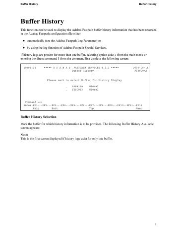 Buffer History - Software AG Documentation