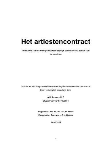 Het artiestencontract - DSpace at Open Universiteit - Open ...