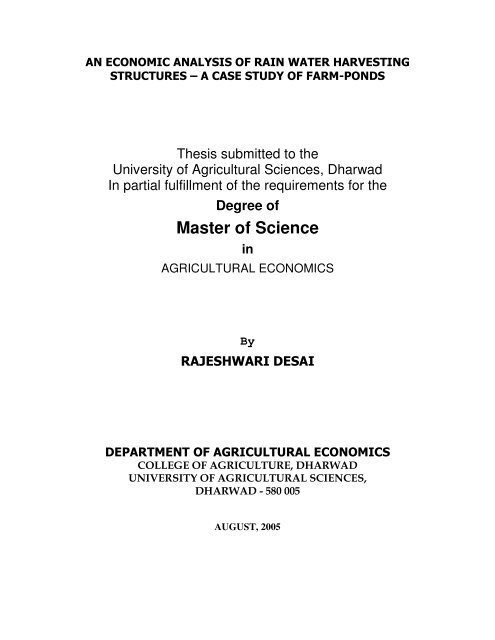 Thesis submitted to the university of agricultural sciences dharwad