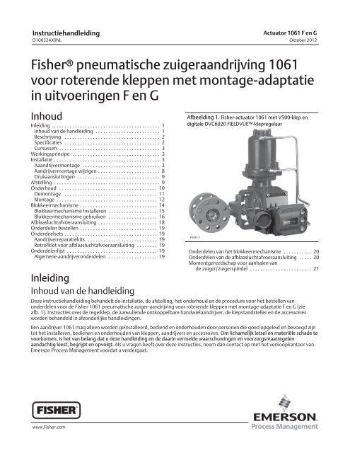 Fisherr pneumatische zuigeraandrijving 1061 voor roterende ...