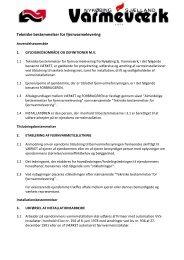 Tekniske bestemmelser for fjernvarmelevering