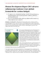 Human Development Report 2011 advarer: miljømæssige ...