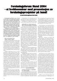 Forskningsforum Hund 2004 6 et kveldsseminar med presentasjon ...