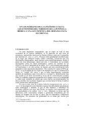 En los márgenes de la lingüística celta: los etnónimos del noroeste ...
