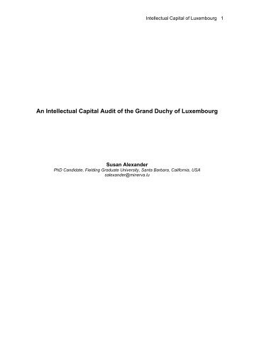 An Intellectual Capital Audit of the Grand Duchy of Luxembourg