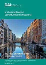 9. Jahresarbeitstagung Gewerblicher ... - Deutsches Anwaltsinstitut eV