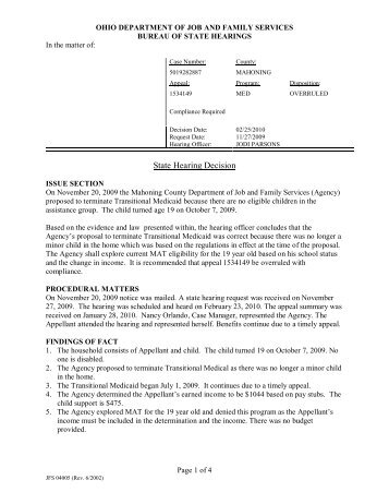 State Hearing Decision - Hearing Decisions and Administrative ...