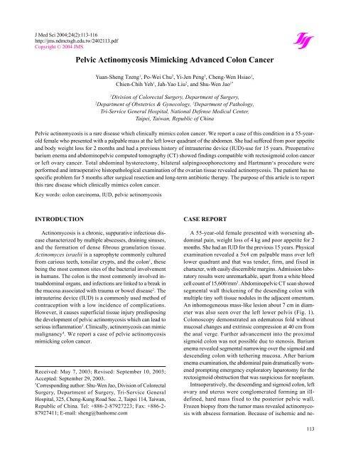 Pelvic Actinomycosis Mimicking Advanced Colon Cancer