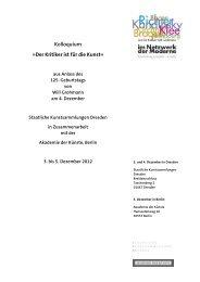 Programm des Will-Grohmann-Kolloquiums - Akademie der Künste