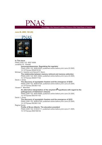 June 28, 2005; 102 (26) In This Issue PNAS 2005 102: 9087-9088 ...