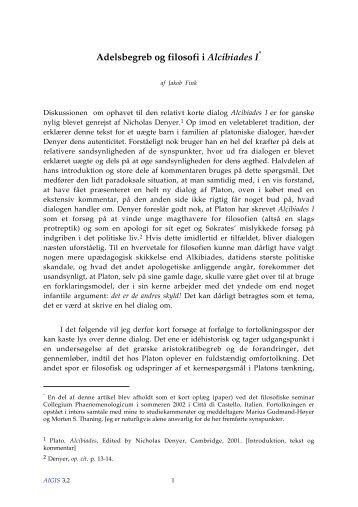 Adelsbegreb og filosofi i Alcibiades I - Aigis