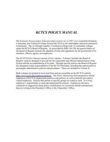 KCTCS POLICY MANUAL - e-archives Home