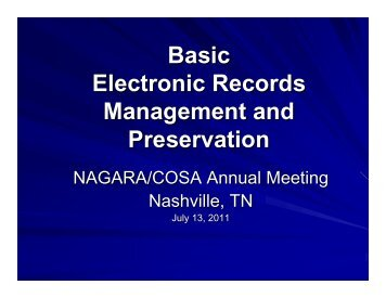Basic Electronic Records Management and Preservation - Kentucky ...
