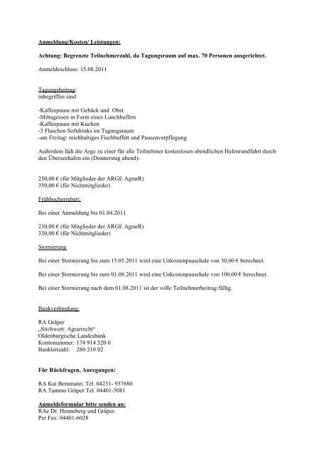 Anmeldung/Kosten/ Leistungen: Achtung ... - Deutscher Anwaltverein