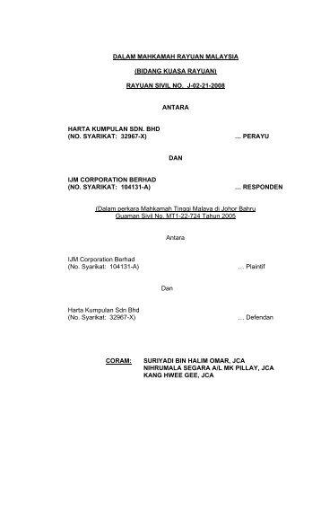 rayuan sivil no. j-02-21-2008 antara harta kumpulan sdn. bhd