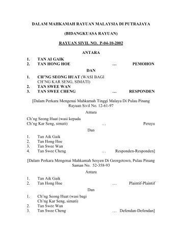 DALAM MAHKAMAH RAYUAN MALAYSIA DI PUTRAJAYA ...