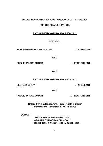 (bidangkuasa rayuan) rayuan jenayah no. w-05-130-2011 between ...