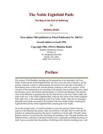 The Noble Eightfold Path: Preface - Ashin Kelatha Vihara