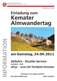 Kemater Almwandertag 2011 - Gemeinde Kematen in Tirol