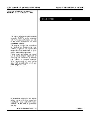2004 impreza service manual quick reference index ... - Ken Gilbert