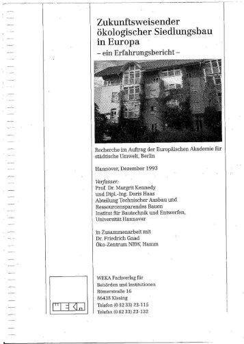 Zukunftsweisender ökologischer Siedlungsbau in Europa - Kennedy ...