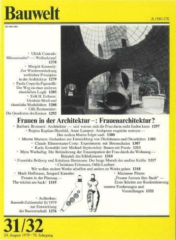 Bauwelt: 'Frauen in der Architektur' - Kennedy Bibliothek