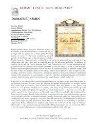 Domaine Jasmin Tech Sheet - Kermit Lynch Wine Merchant