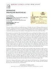 DOMAINE FRANÇOIS RAVENEAU - Kermit Lynch Wine Merchant