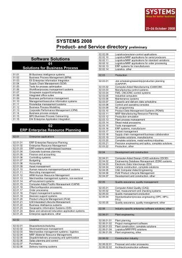 SYSTEMS 2008 Product- and Service directory preliminary