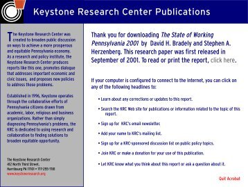 The State of Working Pennsylvania 2001 - The Keystone Research ...