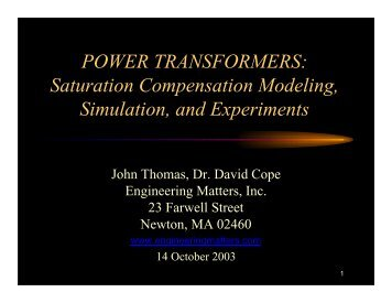 Presentation - POWER TRANSFORMERS: Saturation ...