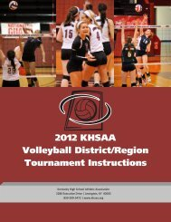 2012 KHSAA Volleyball District/Region Tournament Instructions